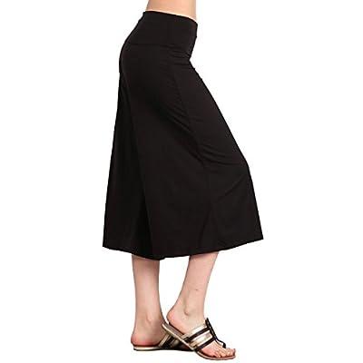 HEYHUN Women's Solid Tie Dye Wide Leg Flared Capri Boho Gaucho Pants w/Lace Detail S-3XL at Women's Clothing store