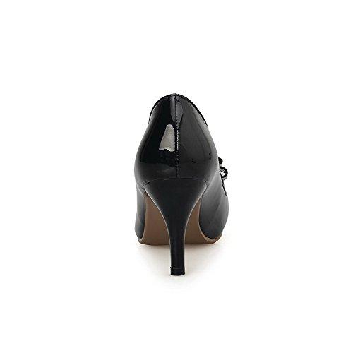 Tirare Nero Pelle Donna di Tacco VogueZone009 Puro Maiale Alto Ballerine PT01qxnwzx
