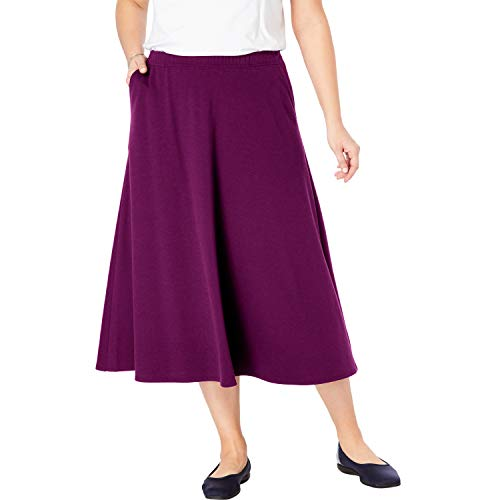 Woman Within Women's Plus Size A-Line Ponte Skirt - Dark Berry, 14/16