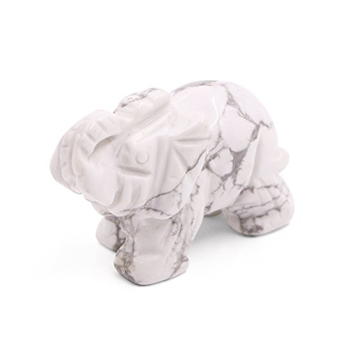 Amulet Elephant - Fvstar 2 inch White Howlite Gemstone Elephant Mini Sculpture Pocket Amulet Carved Natural Stone Statue Figurine for Room Decorations as Christmas Thanksgiving Gifts