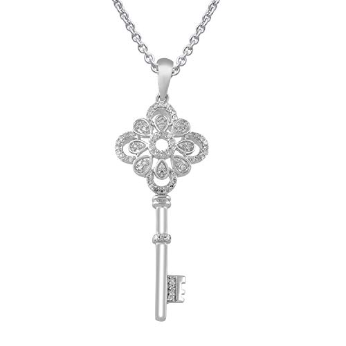 Jewelili Sterling Silver 1/4cttw Round Diamond Clover Key Pendant Necklace, 18