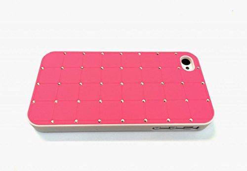 Iphone 4 / 4S CRISTAL DE LUXE Croix Diamant Hard Case Cover Bling rose avec cadre blanc pour Apple iPhone 4 / 4S