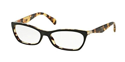 Prada PR15PV Eyeglass Frames NAI1O1-55 - Top Black/Medium Havana - Top Prada