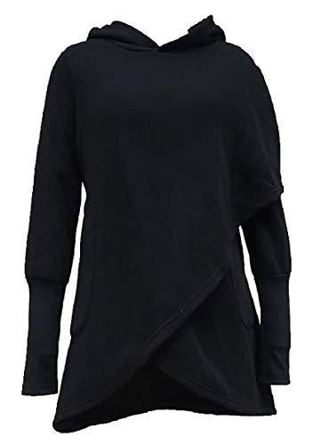 ONTBYB Women's Long Sleeve Hoodie Asymmetric Hem Wrap Pullover Sweatshirt Tops Blouse Black S -