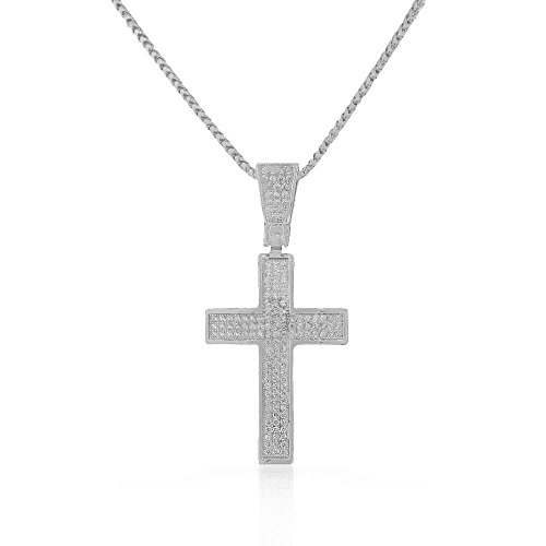 925 Sterling Silver White Clear CZ Large Statement Latin Cross Pendant Necklace by My Daily Styles
