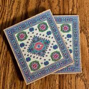 Logos Turkish Rug Coaster Set- Cross and Crown of Thorns ( pack of 2)