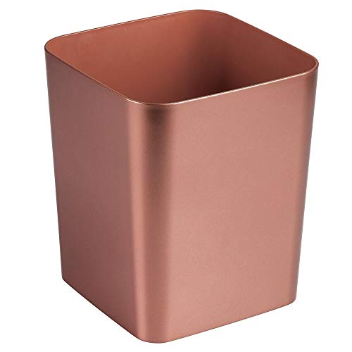 (mDesign Square Shatter-Resistant Plastic Small Trash Can Wastebasket, Garbage Container Bin for Bathrooms, Powder Rooms, Kitchens, Home Offices - Rose Gold Finish)
