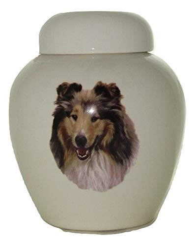 Skyline Arts Rough Collie-Sable Dog Urn- Cremation Urn or Keepsake for Ashes - Hand Made Pottery