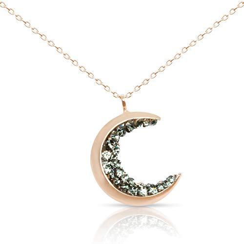 ONDAISY 18K Rosegold Plated Black Cz Gypsy Planet Half Crescent Sailor Luna Moon Pendant Charm Chain Necklace