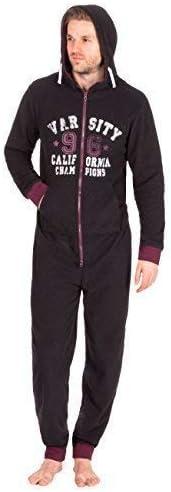 Mens Fleece Plain Lounge Pyjamas Tracksuit Hooded All in One Piece Nightwear Sleepwear Jumpsuit M L XL