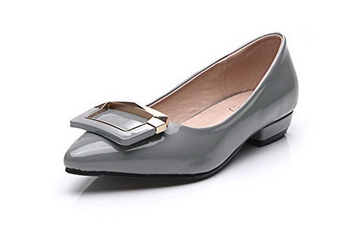 Aalardom Kvinnor Fasta Mjuk Material Pull-on Pekade-toe Pumpar-shoes Grå-glas Diamant