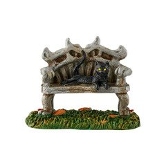Department 56 Halloween Village Black Cat Bench Accessory, 2.88 inch