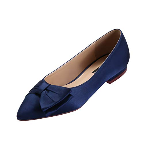 ERIJUNOR E0045 Wedding Flats Comfortable Flat Shoes for Women Closed Toe Wide Width Evening Party Dress Shoes Navy Size (Pleated Satin Flat)