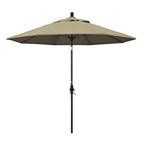 California Umbrella 9' Round Aluminum Pole Fiberglass Rib Market Umbrella, Crank Lift, Collar Tilt, Bronze Pole, Sunbrella Heather Beige