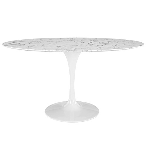 "Modway EEI-1135-WHI Lippa Mid-Century Modern 60"" Oval Artificial Marble Dining Table, Top, White Base"