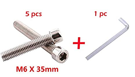 5 pcs Do4U M6x35mm Stainless Steel Flat Hex Socket Head Hexagon Furniture Bolts Connector Fastener with a Small Wrench
