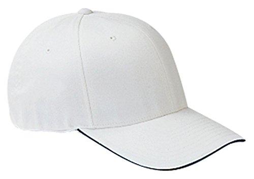 - Flexfit Wooly Cap with Sandwich Bill-L/XL (White/Navy)