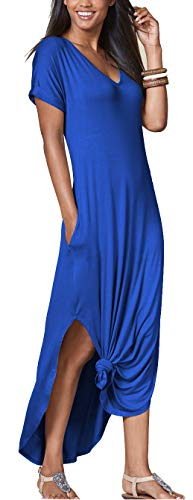 (iGENJUN Women's Short Sleeve Split Tie Dye Casual Maxi Dress with Pocket,L,Royal Blue)
