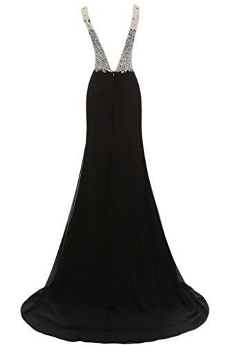 Abendkleid Rueckenfrei Liebling Ausschnitt Partykleid V Lang Schlitz Promkleid Schwarz Damen Steine Ivydressing UqxRWv1S