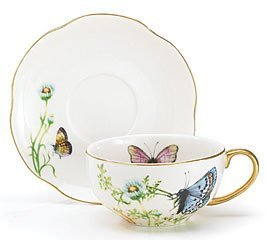 Porcelain Butterfly Teacup And Saucer Set With Gold Trim Fine Dining And Table (Gold Trimmed Satin Collection)