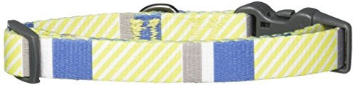 Bow & Arrow Pet Dog Collar, Nautical Stripe Adjustable Dog Collar, Small, 3/4 Inch Wide, 10-14 Inches Long, Indigo