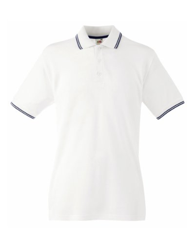 Fruit Of The Loom Mens Tipped Short Sleeve Polo Shirt (L) (White/Deep (Fruit Of The Loom Polo)