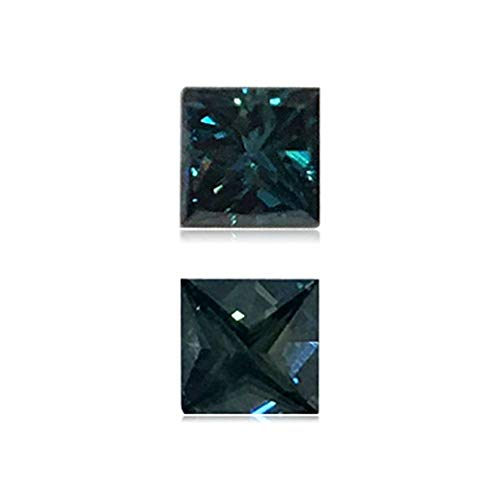 (Mysticdrop 0.25 Cts of 3.5x3.5x2.5 mm SI2 Princess Cut Teal Blue Diamond (1 pc) Loose Color Diamond)