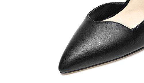 Schnalle Sommer größe Echtleder hohe Farbe dünne hohle Sandalen Damenschuhe und Ferse Schwarz wies 38 Frühling 5zUFqfpz
