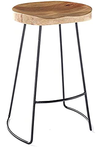 Bar Furniture 2pcs Industrial-style Gavin Bar Stools Solid Wood Top Dining Chair Industrial Style Bar Furniture Us Fr De Es Stock