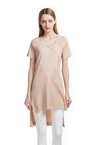Knitbest V-neck Raglan Short Sleeve Irregular Sweater Dress (Medium, pale apricot)