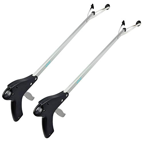 Vive Suction Cup Reacher Grabber (2 Pack) - 32 Inch Heavy Duty Mobility Grip Hand Aid - Handle Tool Light Bulb Remover, Long Handled Trash Litter Picker, Garbage Garden Nabber, Extender Arm Pickup -
