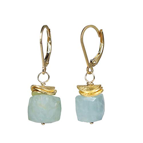 Aquamarine Cube Earrings- Aquamarine Gemstone Drop Earring- 1