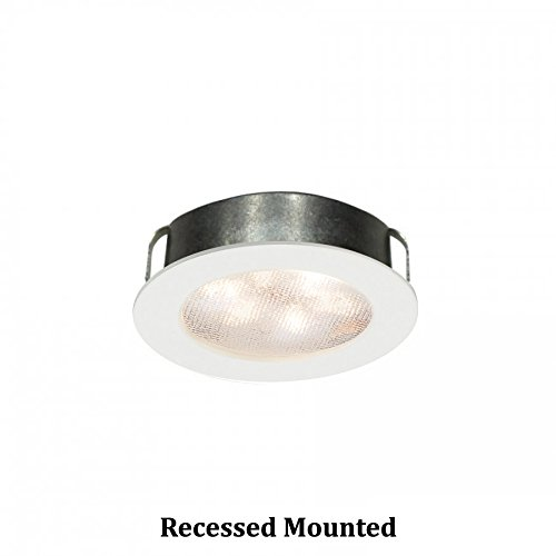 WAC Lighting HR-LED87-WT LED Round Button Lights, 3000K in White Finish