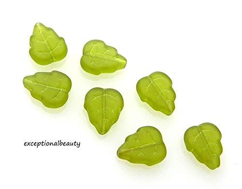 25 Olive Frost Olivine Green Matte Czech Glass 10x12mm Leaf Leaves Beads