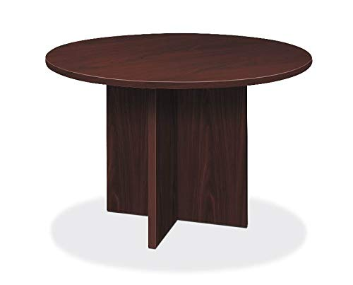 HON LMC48DN Foundation Conference Table Round Flat Edge Profile X-Base 48-Inch Mahogany