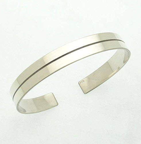 Amazon Com Silver Mens Cuff Bracelet With Hidden Engraved Message