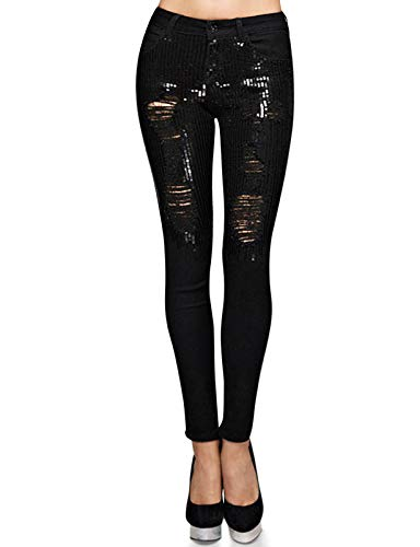 Monkey Ride Jeans Women's Skinny Slim Fit Jeans Sequins Distressed Mid Rise Waist Denim 1, Black ()