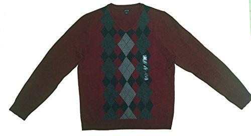 Apt 9 Men's Sweater Vneck Merino Wool Argyle Dogwood Red - Sweater Argyle Wool Merino