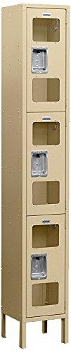 Salsbury Industries S-63162TN-U Triple Tier 12-Inch Wide 6-Feet High 12-Inch Deep Unassembled See Through Metal Locker, Tan Brown by Salsbury Industries