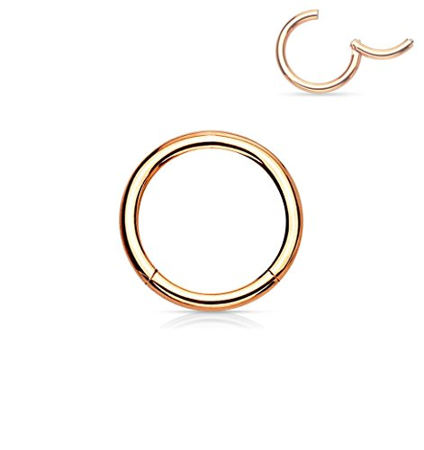 Forbidden Body Jewelry 18G 6mm Surgical Steel Hinged Easy Use Hassle Free Seamless Hoop Body Piercing Ring, Rose Gold Tone