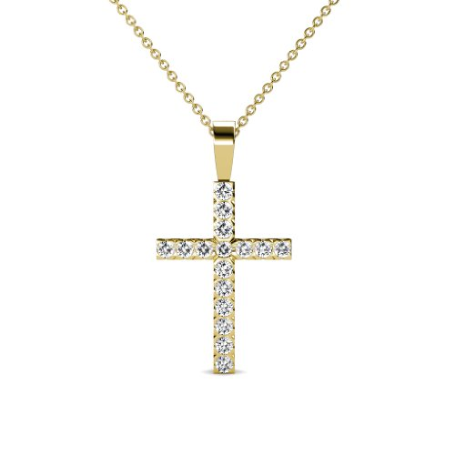 (TriJewels Petite Diamond Cross Pendant 0.32 ctw in 14K Yellow Gold with 14K Gold Chain)