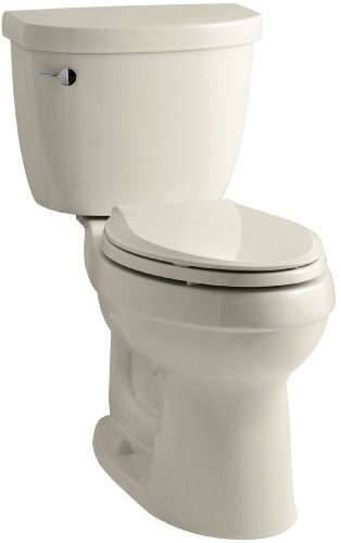 KOHLER K-3589-47 Cimarron Comfort Height Elongated 1.6 gpf Toilet with AquaPiston Technology, Less Seat, Almond