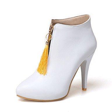 Heart&M Damen Schuhe Kunstleder Winter Stiefeletten Stiefel Stöckelabsatz Spitze Zehe Booties Stiefeletten Reißverschluss Quaste Für Normal yellow