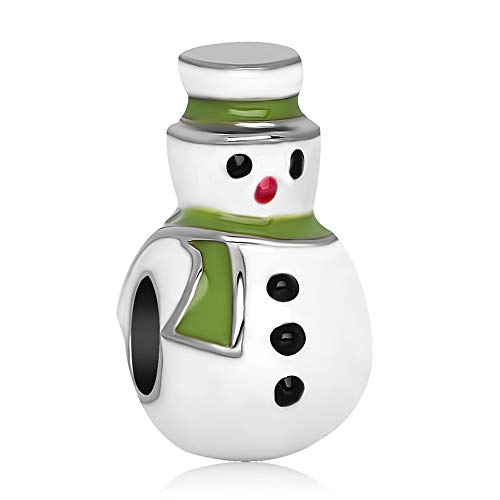 (AYHU Christmas Snowman Charms Beads for Charms Bracelets (Green) )
