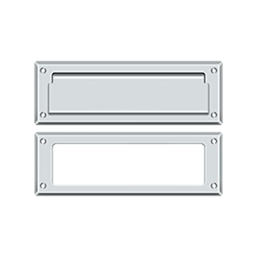 Deltana MS626 8-7/8 Inch Wide Solid Brass Mail Slot with Interior Frame, Polished Chrome