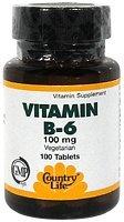 Country Life Vitamin B-6 100 Mg, 100-Count