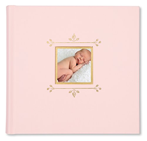 "C.R. Gibson Pink Cloth Slim Bound Photo Journal Album for Baby and Newborn Girls, 9"" W x 8.875"" H, 80 Pages"