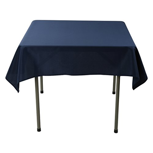 E-TEX 52 x 52-Inch Square Tablecloth, 100% Polyester Washable Table Cloth for Square or Round Table, Navy Blue for $<!--$8.99-->