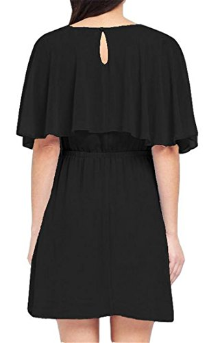 Cromoncent Solid Dress Black Color Chiffon Ruffle Waist Flowy High Womens Mini waSr5w