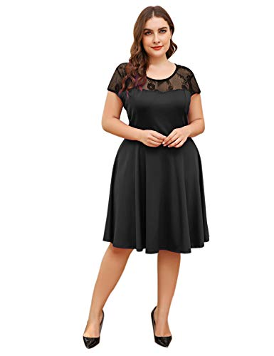 (Womens Plus Size Vintage Lace Cocktail Wedding Guest Party Dress Summer Casual Midi fit and Flare Tea Sundress)